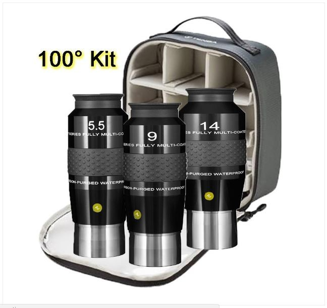 """EXPLORE SCIENTIFIC 5.5, 9, AND 14MM 100° 2"""" EYEPIECE KIT- AP/WP WITH CASE5"""