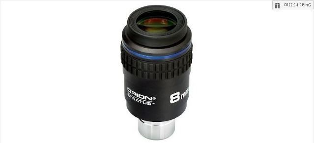 "ORION 8MM STRATUS WIDE FIELD EYEPIECE - 1.25"" / 2"""