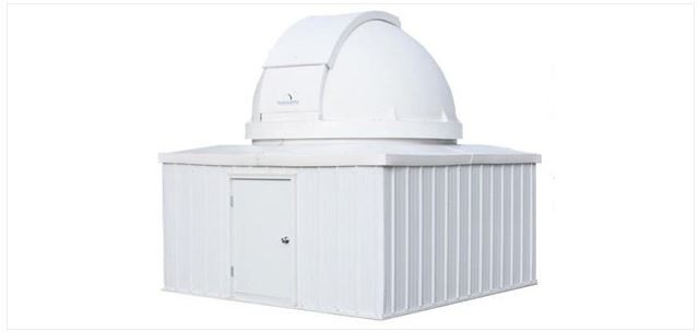 EXPLORA DOME 8' OBSERVATORY DOME ON 10' X 10' ALUMINUM BUILDING WITH DOOR