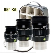 "EXPLORE SCIENTIFIC 16, 24, 34MM 68° 1.25/2"" EYEPIECE KIT-AP/WP WITH CASE"